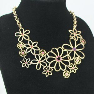 """Mudd 18-21"""" Gold-Tone Necklace with Red Rhinestone"""